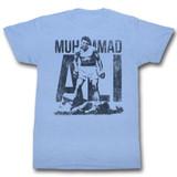 Muhammad Ali Blue Light Blue Heather Adult T-Shirt