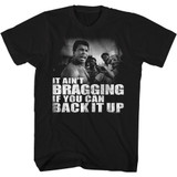 Muhammad Ali Distressed Back It Up Black Adult T-Shirt