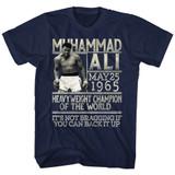 Muhammad Ali Back It Up Navy Adult T-Shirt