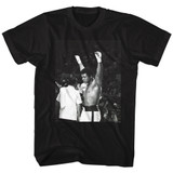 Muhammad Ali Hands In The Air Black Adult T-Shirt