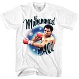 Muhammad Ali Airbrush Punch White Adult T-Shirt