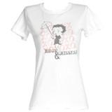 Betty Boop Hugs And Kisses White Junior Women's T-Shirt