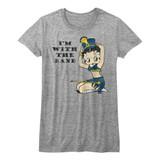 Betty Boop Follow The Beat Gray Heather Junior Women's T-Shirt