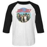 Bon Jovi Vintage Band Shot White/Black Adult Raglan Baseball T-Shirt