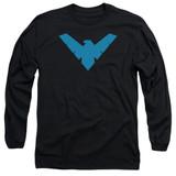 Batman Nightwing Symbol Long Sleeve Adult 18/1 T-Shirt Black