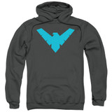 Batman Nightwing Symbol Adult Pull Over Hoodie Sweatshirt Charcoal