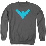 Batman Nightwing Symbol Adult Crewneck Sweatshirt Charcoal