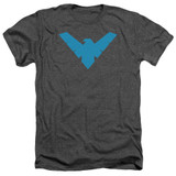 Batman Nightwing Symbol Adult Heather Charcoal T-Shirt