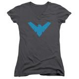 Batman Nightwing Symbol Junior Women's V Neck Charcoal T-Shirt