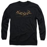 Batman Arkham Knight AK Flame Logo Black Adult Long Sleeve T-Shirt