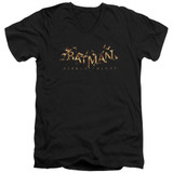 Batman Arkham Knight AK Flame Logo Black Adult V-Neck T-Shirt