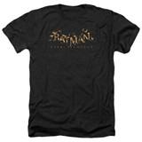 Batman Arkham Knight AK Flame Logo Heather Black Adult T-Shirt