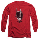 Batman Arkham Knight AK Head Adult Long Sleeve T-Shirt 18/1-Red