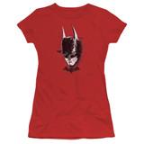 Batman Arkham Knight AK Head Red Junior Women's Sheer T-Shirt