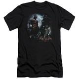 Batman Arkham Knight Face Off Premium Canvas Black Adult Slim Fit T-Shirt