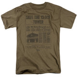 Back To The Future Clock Tower Adult 18/1 T-Shirt Safari Green