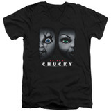 Bride Of Chucky Happy Couple Adult V-Neck T-Shirt Black