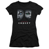 Bride Of Chucky Happy Couple Junior Women's Sheer T-Shirt Black