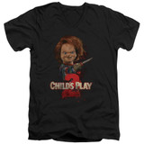 Child's Play 2 Here's Chucky Adult V-Neck T-Shirt Black