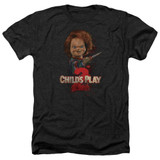 Child's Play 2 Here's Chucky Adult Heather T-Shirt Black