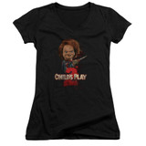 Child's Play 2 Here's Chucky Junior Women's V-Neck T-Shirt Black