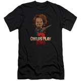 Child's Play 2 Here's Chucky Premium Canvas Adult Slim Fit T-Shirt Black