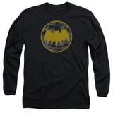 Batman Vintage Symbol Collage Adult Long Sleeve T-Shirt Black