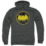 Batman Vintage Symbol Collage Adult Pullover Hoodie Sweatshirt Charcoal