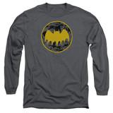 Batman Vintage Symbol Collage Adult Long Sleeve T-Shirt Charcoal