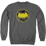 Batman Vintage Symbol Collage Adult Crewneck Sweatshirt Charcoal