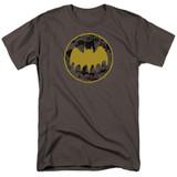 Batman Vintage Symbol Collage Adult 18/1 T-Shirt Charcoal