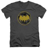 Batman Vintage Symbol Collage Adult V-Neck T-Shirt Charcoal