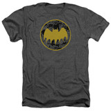 Batman Vintage Symbol Collage Adult Heather T-Shirt Charcoal