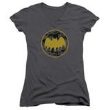 Batman Vintage Symbol Collage Junior Women's V-Neck T-Shirt Charcoal