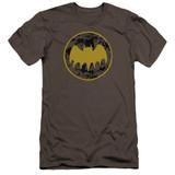 Batman Vintage Symbol Collage Premuim Canvas Adult Slim Fit T-Shirt Charcoal