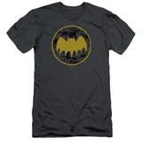 Batman Vintage Symbol Collage Adult 30/1 T-Shirt Charcoal