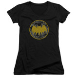 Batman Vintage Symbol Collage Junior Women's V-Neck T-Shirt Black