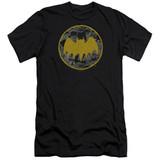 Batman Vintage Symbol Collage Premuim Canvas Adult T-Shirt Black