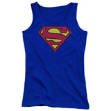 Superman Classic Logo Junior Women's Tank Top T-Shirt Royal Blue