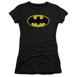 Batman Classic Logo Junior Women's Sheer T-Shirt Black