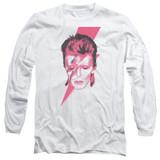 David Bowie Aladdin Sane Long Sleeve Adult 18/1 T-Shirt White
