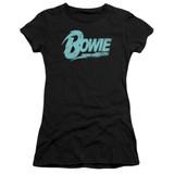David Bowie Logo S/S Junior Women's T-Shirt Sheer Black