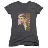 David Bowie Smokin Junior Women's T-Shirt V Neck Charcoal