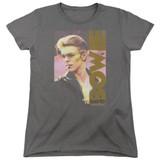 David Bowie Smokin S/S Women's T-Shirt Charcoal