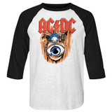 AC/DC Vintage Fly On Wall White/Black Adult Baseball Raglan T-Shirt