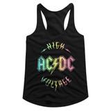 AC/DC Multicolor Voltage Black Junior Women's Racerback Tank Top T-Shirt