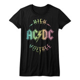 AC/DC Multicolor Voltage Black Junior Women's T-Shirt