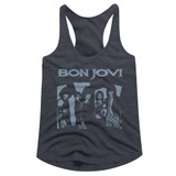Bon Jovi Blue Jovi Navy Heather Junior Women's Racerback Tank Top T-Shirt