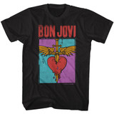 Bon Jovi Heart And Dagger Black Adult T-Shirt