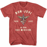 Bon Jovi Heart And Dagger Red Heather Adult T-Shirt